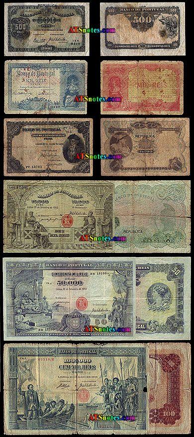 portuguese money | 500 reis, 1, 2.50, 10, 20, 50, 100 mil reis