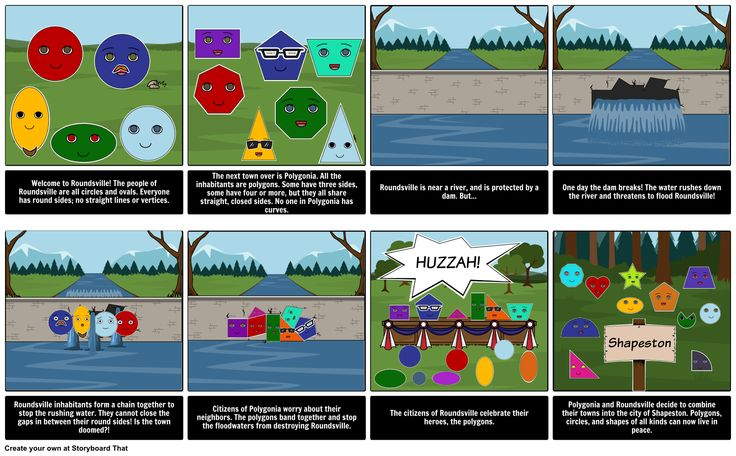 Introduction to Geometry - Polygonia and Roundsville: Students love using this super fun storyboard to learn about polygons and other shapes!