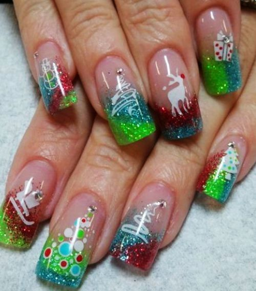 Green & Red Christmas nails, shiny christmas nails, 2013 christmas nails design #christmas #nail #art www.loveitsomuch.com