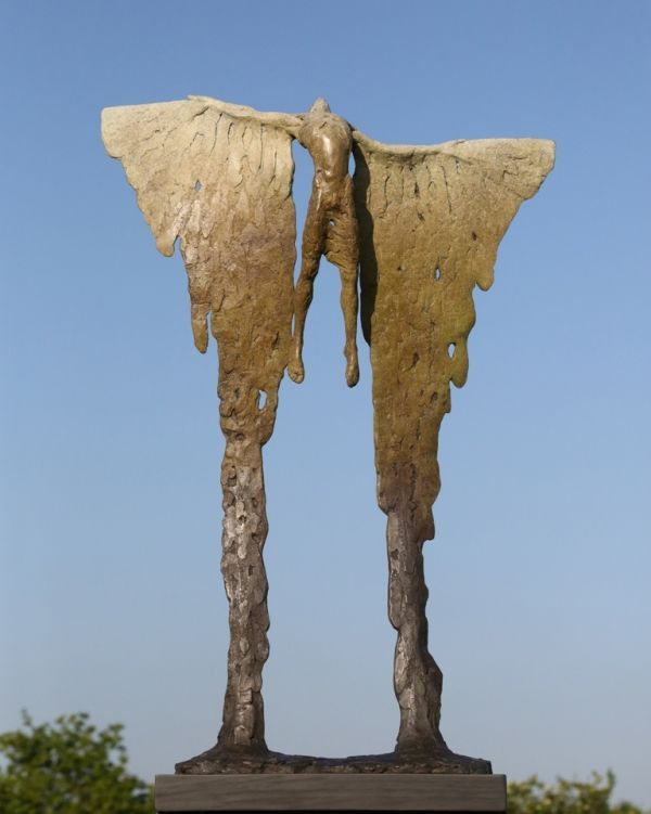 Bronze Modern Abstract Contemporary Avant Garde Sculptures or Statues or statuettes or statuary sculpture by artist Nicola Godden titled: 'B.Icarus Rising VIII (bronze Soaring and Melting Wings statue statuette)'