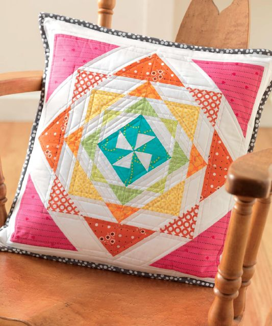 Freshly Pieced Modern Quilts: Meet the Vintage Quilt Revival Quilts: Rainbow Mosaic Pillow
