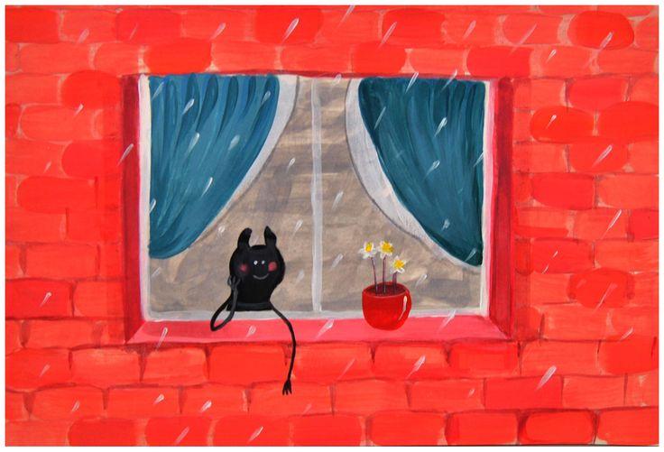 """""""Journée pluvieuse"""", acrylique, 20x30cm"""