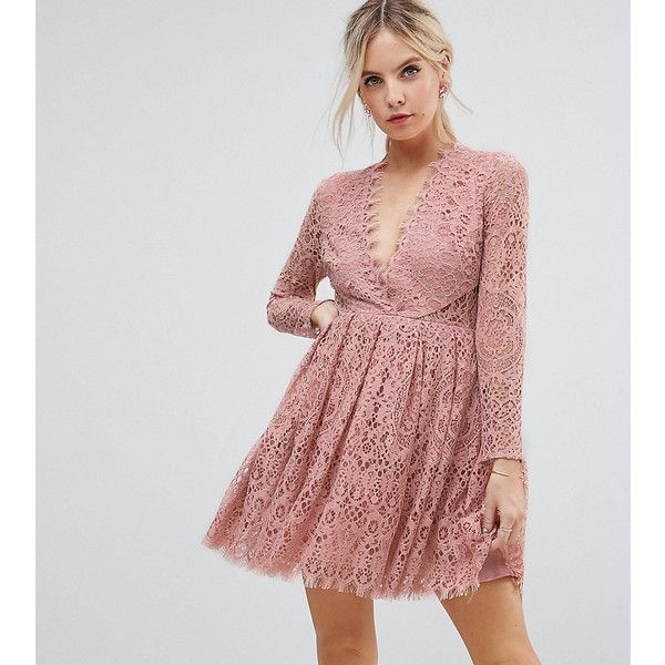 ASOS PETITE Long Sleeve Lace Mini Prom Dress (€92) ❤ liked on Polyvore featuring dresses, petite, pink, petite cocktail dress, long-sleeve lace dresses, petite prom dresses, prom dresses and pink cocktail dress