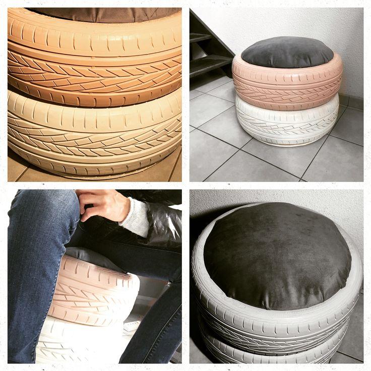 pouf en pneu recyclage de vieux pneu un coup de bombe et c 39 est parti mes cr ations. Black Bedroom Furniture Sets. Home Design Ideas
