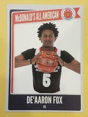 2015 De'Aaron Fox McDonalds all American KENTUCKY 2017 NBA Draft Lottery Pick RC