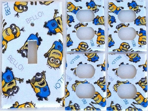 minion White Cartoon Light Switch Plate Cover Outlet Bedroom