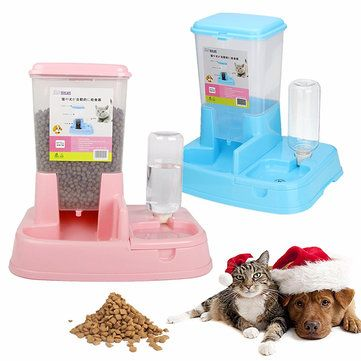 Dogs Cats Automatic Feeder Puppy Kitty Pet Water Drinker Dispenser Dish Bowl