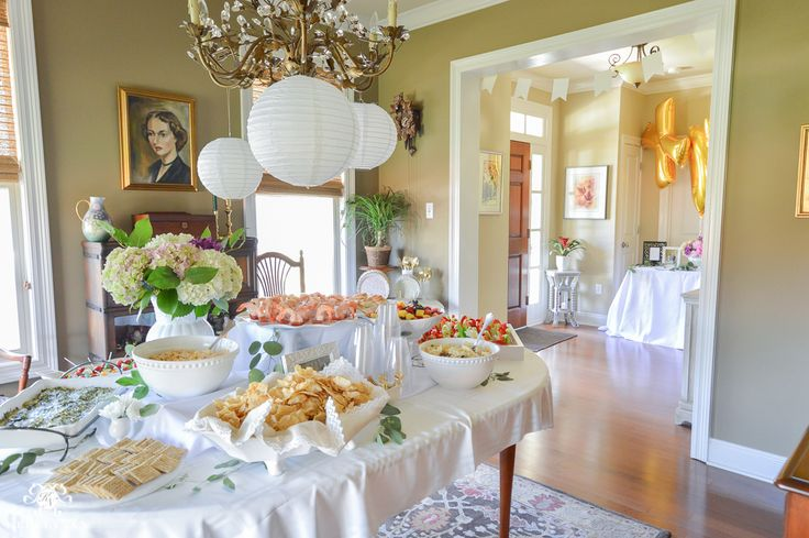 Southern Garden Party Bridal Shower Ideas- food table display in dining room