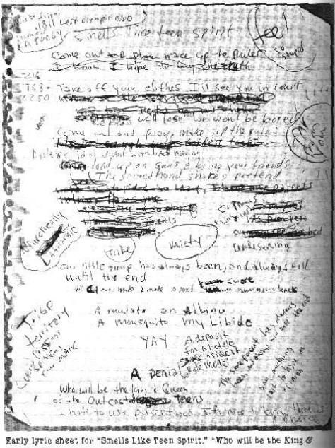 Kurt cobain 39 s handwriting sample comparing handwriting on 39 suicide note 39 which was infact - Nirvana dive lyrics ...