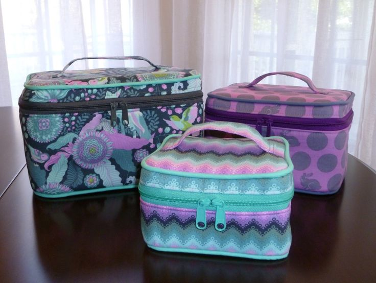 These train cases come in 3 different sizes: small, medium, and large. Each case features a zipper on the exterior, and several pockets and compartments on the inside. Add some optional piping to give your case an extra bit of attention! Perfect for make-up, sewing supplies, or other small findings, this is the perfect case to grab and go!  The pdf pattern includes 16 pages of sewing instructions, complete with 31 step-by-step color photos.  Click here to read more details about this sewing…