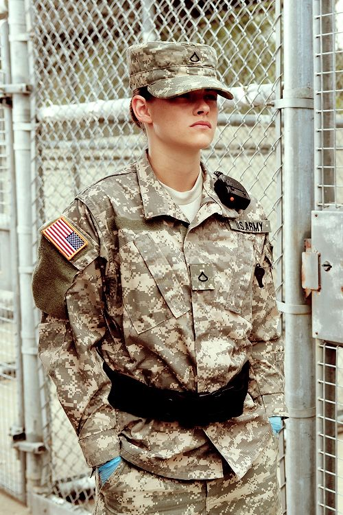 """Kristen Stewart as an American soldier assigned to guard detainees in Guantanamo in """"Camp X-Ray"""""""