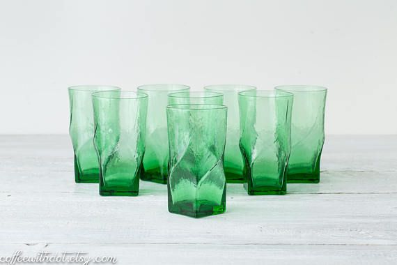 8 Vintage Green Drinking Glasses  Square Twist Tumblers