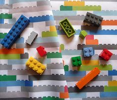 cute fabric for curtains for boys room - lego design, couple of different color backgrounds on Spoonflower