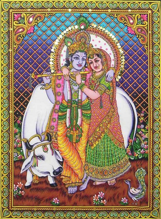 Radha krishna the divine lovers sequined painting from for Mural radha krishna