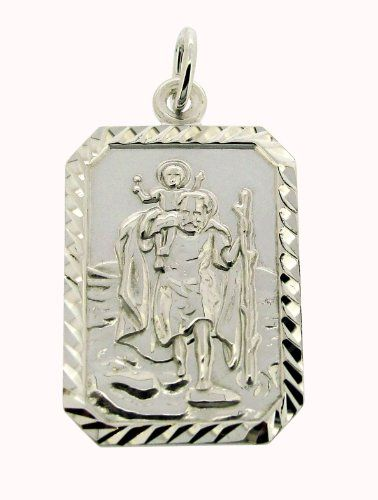 Personalised With Your Engraving Solid 925 Sterling Silver 26mm x 18mm Rectangle Diamond Cut St Christopher Pendant Medal In Gift Box--43.49