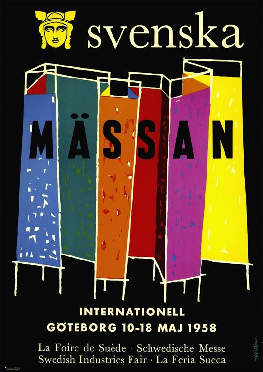 Den 10-18 maj 1958 arrangeras internationell vårmässa på Svenska Mässan. Poster from the 1958 exhibition in Gothenburg.