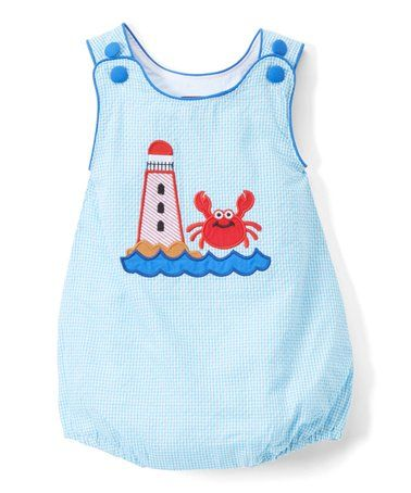cb8812f0f Look what I found on #zulily! Blue Gingham Lighthouse & Crab Embroidered  Romper -