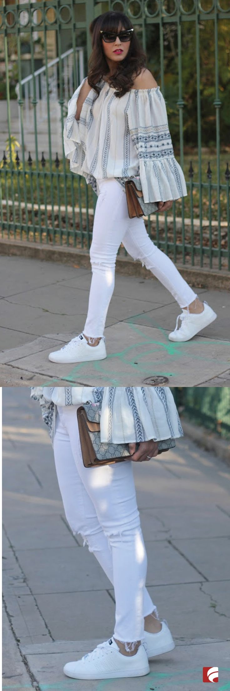 So chic, so clean and ready to be worn with anything: meet the adidas Neo Cloudfoam Advantage Clean Sneaker! Laura of Spanglish Fashion pairs her sneakers with an all-white ensemble, including distressed white jeans and a ruffled top for a chic everyday look that transitions perfectly from day to night. This shoe features a leather upper in a casual athletic sneaker style, lace-up front, and perforated three stripes detail.