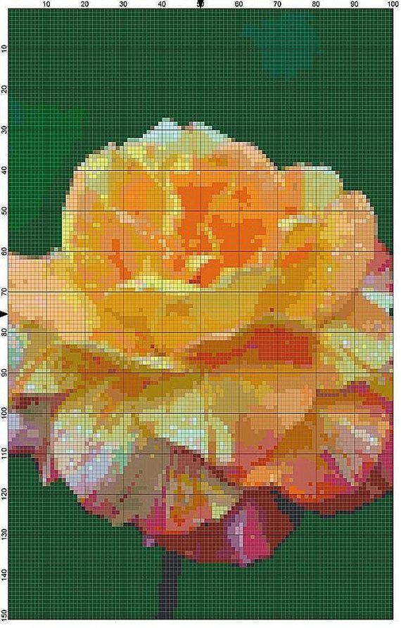 Cross Stitch Pattern Hybrid Yellow Tea Rose by theelegantstitchery
