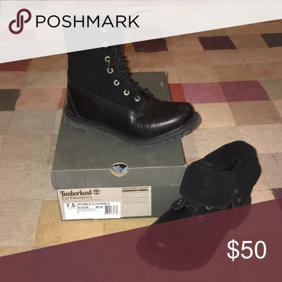 Timberland Roll-Top Boots Women's 7.5 black leather/suede roll-top boot.   Can be worn tied up, or rolled down.  Upper: suede  Lower: smooth leather Worn no more than 5 times.  Original box included. Timberland Shoes Lace Up Boots