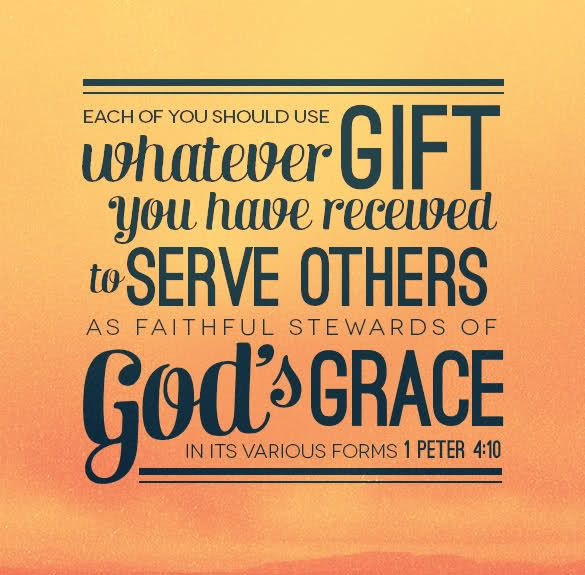 1 Peter 4:10 - Each of you should use whatever gift you have received to serve others as faithful stewards of God's Grace in its various forms!: Peter 410, Living To Serving Bible Quotes, Christian Quotes, Peter O'Tool, Peter 4 10, 1 Peter, God Grace, Inspiration Quotes, Bible Ver