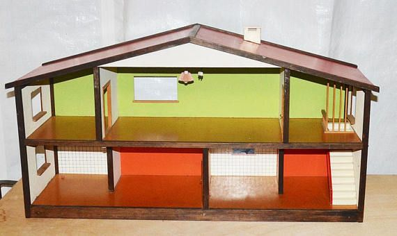 1950s/60s vintage antieke VERO hout Compo gedrukte pop het midden van de eeuw moderne Pop modernistische Duitsland/Zweden BRIO Lundby Hanse Bodo Hennig huis  DOOR DE HUISSTIJL CLASSIC BRIO - JAREN 1950 MODERNISTISCHE MIDDEN VAN DE EEUW MODERNE POPPENHUIS MET ORIGINELE PAPIEREN EN VERDIEPINGEN