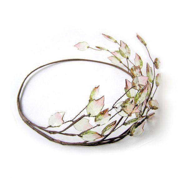 Coiffure mariage : Autumn Leaf Crown Leaf Hair Wreath Greek Leaf Headband Bridal Hair Wreath Rustic Wedding Hair Accessories Music Festival Headband Halo