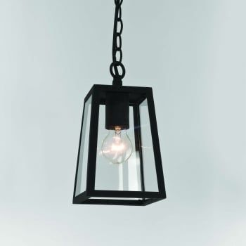 An exterior box lantern design ceiling pendant in a black finish with clear glass panels. The light is suspended on a chain which can be adjusted at the point of installation to suit most ceiling heights. It is double insulated for safe use without need of an earth wire and is IP23 rated for safe outdoor use.