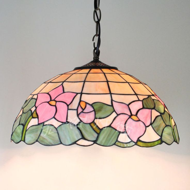 Tiffany Lotus Garden Upscale Retro Chandelier Bedroom Living Dining  European Stained Glass Lamp 16 Inches