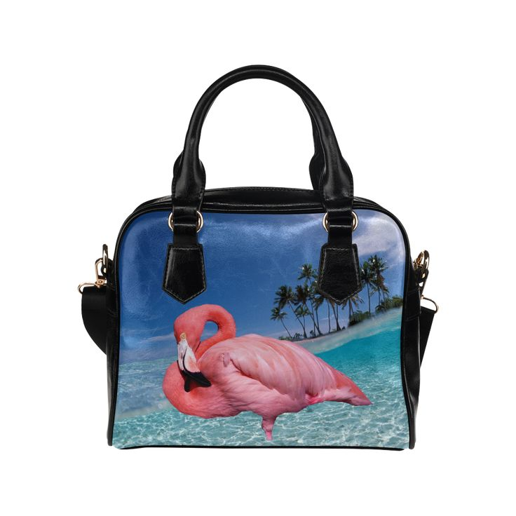 Flamingo and Palms Shoulder Handbag. FREE Shipping. #artsadd #bags #flamingos