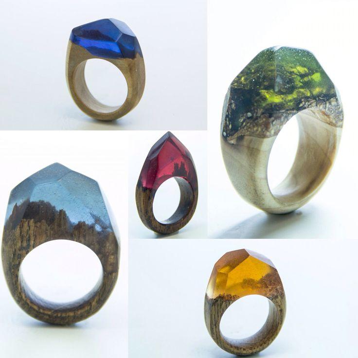 Кольца из дерева и ювелирной смолы