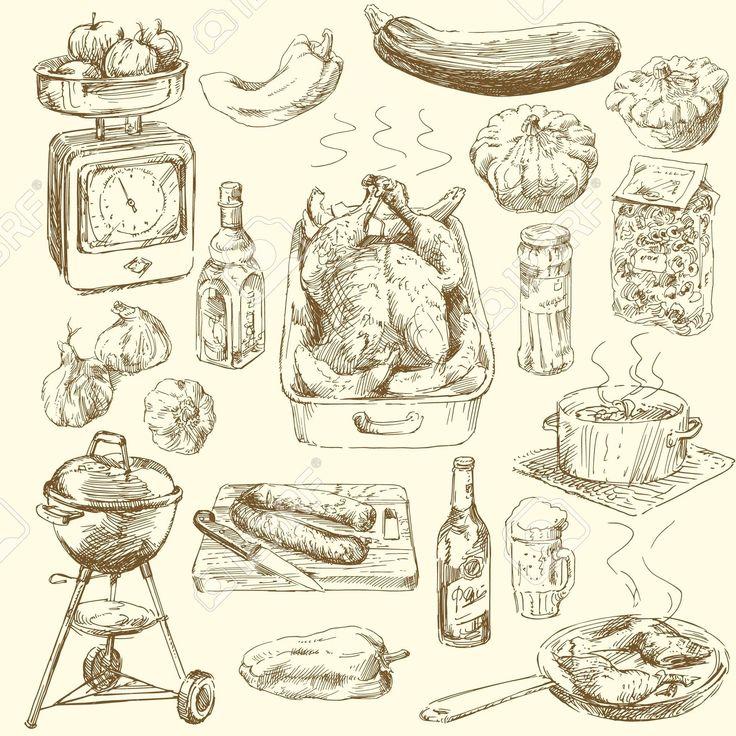 Nagy Gyűjteménye Kézzel Rajzolt élelmiszer Royalty Free Clip Artok, Vektorokt és…