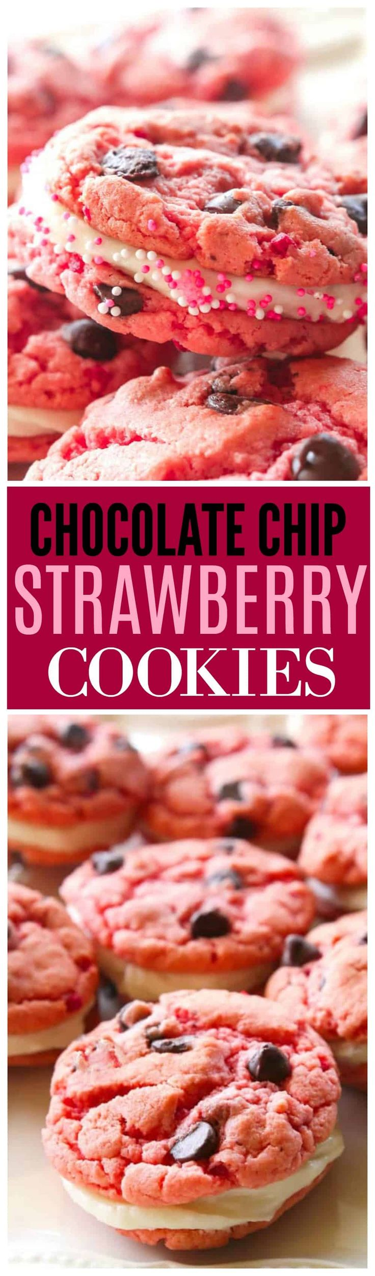 These Strawberry Chocolate Chip Oreos have a bright strawberry flavor with dots of chocolate throughout that are reminiscent of a chocolate covered strawberry. The center is filled with a cream cheese frosting that makes these cookies a real treat.