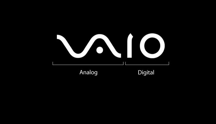 Sony VAIO logo illustrates the integration of analog and digital technology. The VA letters form an analog wave and the IO part represents a binary one and zero.