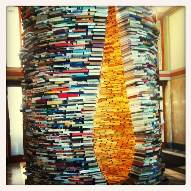 "The wonderful and infinite tower of books ""Idiom"" from Matej Kren. There are mirrors inside so when you look inside it seems to be never-ending..."