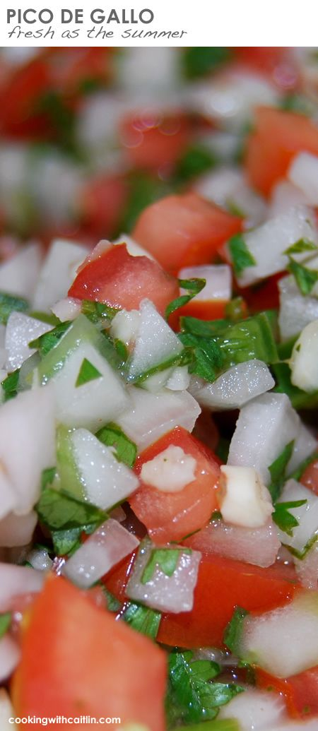 Loaded with fresh veggies, love this easy recipe for pico de gallo. #cookingwithcaitlin Healthy, beautiful and delicious PICO DE GALLO #recipe. Fresh - use as a dip, spoon over a burger, or top on a batch of scrambled eggs.