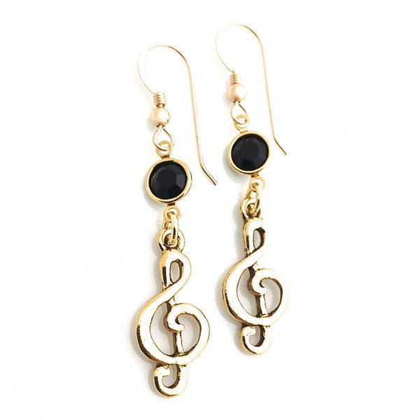 Music Note Jewelry, Treble Clef Earring, Music Lover Gift, Gold... ($328) ❤ liked on Polyvore featuring jewelry, earrings, swarovski crystal earrings, gold jewelry, swarovski crystal jewelry, gold filled earrings and dangling jewelry