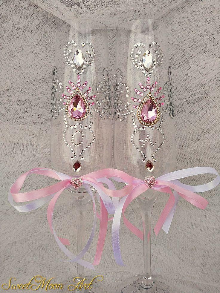 copas champagne,flautas champagne boda,flautas brindis,copas champagne brindis boda,flautas diamantes de imitación,flautas decoradas de SweetMoonArt en Etsy