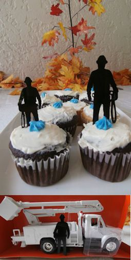 New Product from TNT: Cake or cupcake toppers! lineman-electrician-silhouettes. www.etgiftstore.com