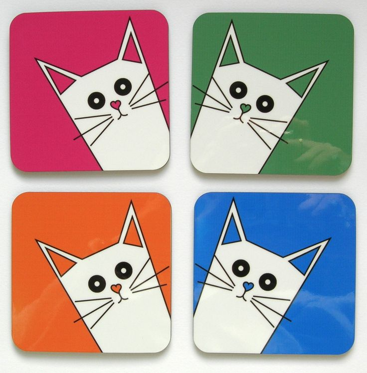 Super-cute new coasters from Giddy Sprite.  The start of the new range of cat designs