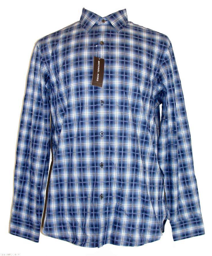 Michael Kors Mens Shirt WHITMAN Plaid Button Down Navy Blue Sz M NEW NWT $195 #MichaelKors #ButtonFront