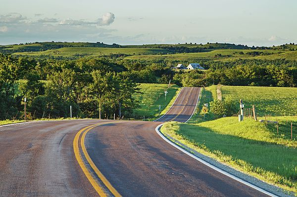 Flint Hill Scenic Byway - An evening pastoral scene along the Kansas Native…
