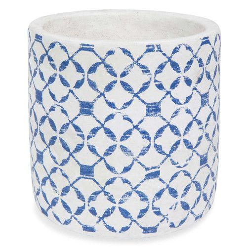 Cache-pot en ciment bleu H 13 cm RHODES