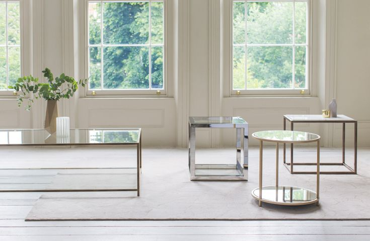 From left: Siena #side_table, Madison side table, Apollo side table and Madison #coffee_ table. In a variety of finishes with #marble, antiqued mirror and glass.