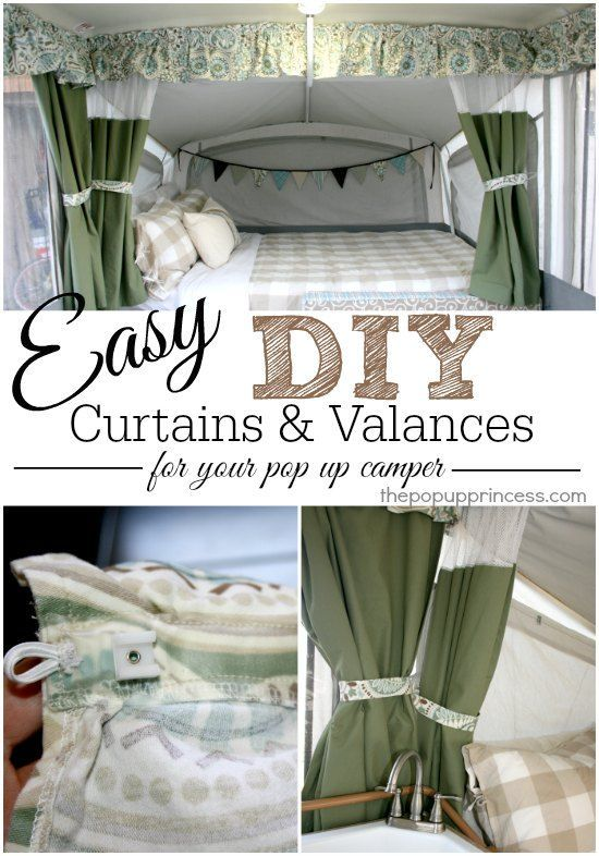 How to Make Your Own Pop Up Camper Curtains:  Some great tips and tricks for making custom curtains for your pop up tent trailer.