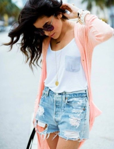 Distressed shorts + white tank + pendant necklace + cardigan