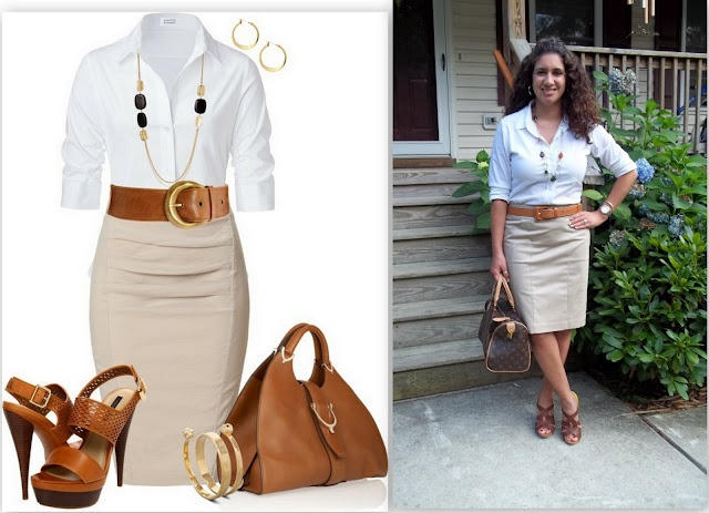 29 best Khaki pencil skirt images on Pinterest
