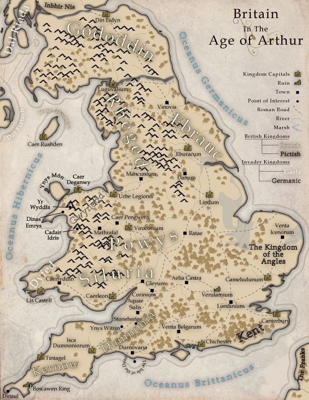 Map of Arthur's Britain - Wordplay Games | DriveThruRPG.com Not quite the same layout as I employ in The Dragon's Dove Chronicles (DAWNFLIGHT, MORNING'S JOURNEY, etc.) by Kim Headlee -- firstly, this map doesn't show far enough north for my Pictish characters! But it's close.