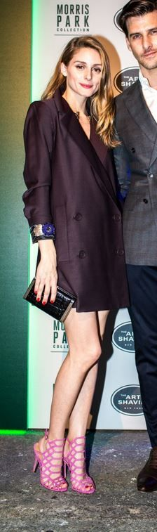 Who made Olivia Palermo's purple tuxedo dress, jewelry, pink sandals, and clutch handbag?