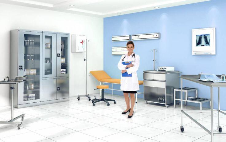 Medyczne meble ze stali kwasoodpornej zapewniają utrzymanie czystości i sterylności, wieloletnią trwałość i gwarantują wysoką estetykę i jakość. #elzap #meblemetalowe #meblelekarskie #gabinetlekarski #medycyna